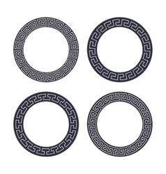 Set of four round meander frames vector