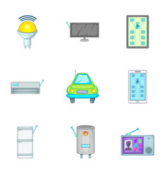 Smart home devices icons set cartoon style vector