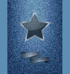 Star and banner over denim texture background vector