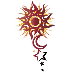 Sun moon stars vector