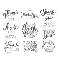 Thanking Cards For The Social Media Followers Set vector image