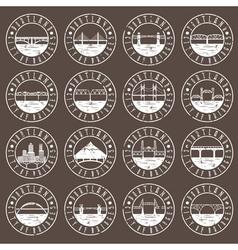 Vintage grunge labels set of portland oregon usa vector
