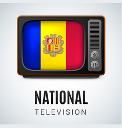 Vintage tv and flag of andorra as symbol national vector