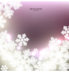 White defocused snowflakes on glow background vector