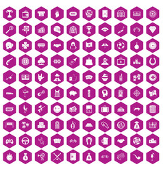 100 gambling icons hexagon violet vector