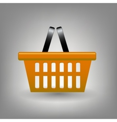 Orange shopping basket icon vector