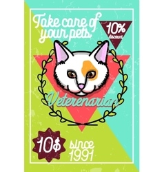Color vintage veterinarian poster vector
