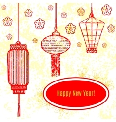 greeting card with chinese traditional vector image