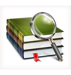 Books and magnifying glass on vector
