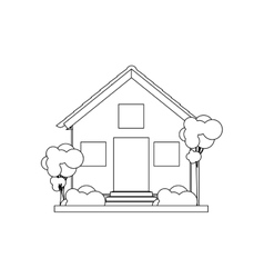 Silhouette house with two floors vector