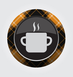 button orange black tartan cooking pot and smoke vector image