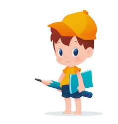 a boy in school uniform posing with a huge pencil vector image