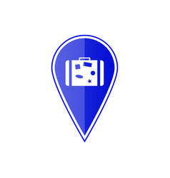 blue map pointer with travel suitcase vector image