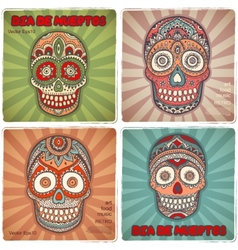 Vintage ethnic hand drawn human skull banners vector