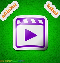 Play video icon sign symbol chic colored sticky vector