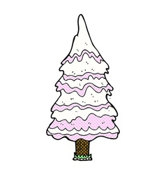 Comic cartoon pink snowy tree vector