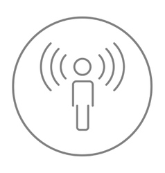 Man with soundwaves line icon vector
