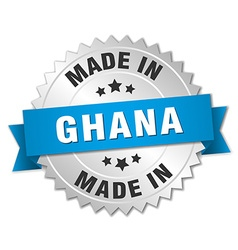 Made in ghana silver badge with blue ribbon vector