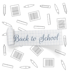 Back to school greeting paper ribbon vector