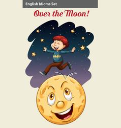 A boy over the moon vector image vector image