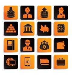 bank icon set black orange vector image