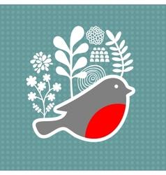 Bird with frozen flowers vector image vector image
