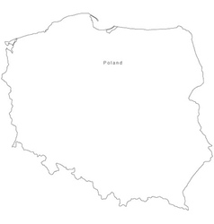 Black White Poland Outline Map vector image