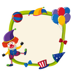 border template with funny clown and balloons vector image vector image