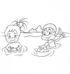 children bathing vector image
