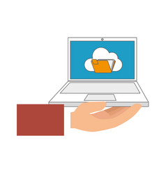 Color hand holding laptop computer with folder on vector