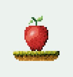 Color pixelated apple fruit in meadow vector