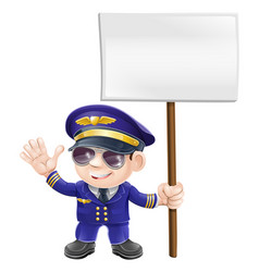 cute pilot with sign character vector image vector image