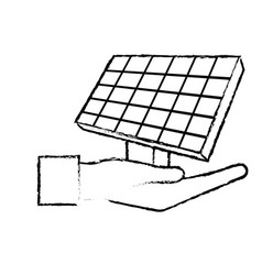 Figure hand with solar energy element to reuse vector