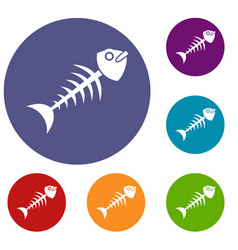 Fish bone icons set vector