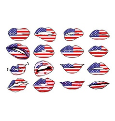 Flags of the usa in sensuality lips set women vector