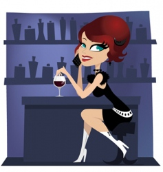 girl at the bar vector image vector image