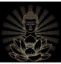 Gold Buddha and Lotus with beam of light vector image vector image