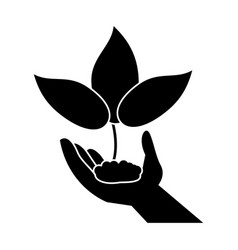 Hand holding plant leaves pictogram vector