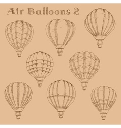 Hot air balloons in flight engraving sketch vector image
