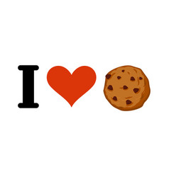 I love cookies heart and cookie emblem for lovers vector