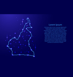 map cameroon from the contours network blue vector image vector image