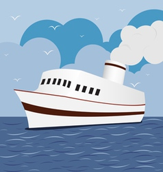 Ocean liner cruise ship boat at sea 1 vector