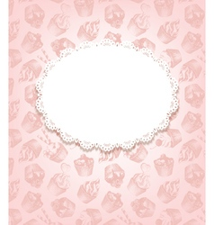 Pink retro background with cupcakes and doily vector