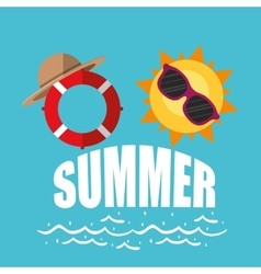 Poster summer sunny sunglasses lifebuoy with hat vector
