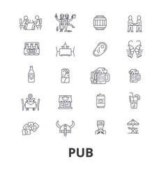pub bar beer alchocol party brewery club line vector image vector image