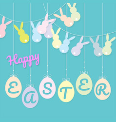 Rabbits bunting flag and eggs hanging vector