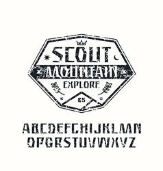 Sanserif font and scout emblem vector