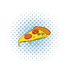 Slice of pizza icon comics style vector image