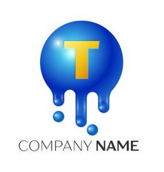T letter splash logo blue dots and bubbles letter vector