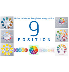 universal templates set infographics 9 positions vector image